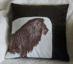 Chocolate Brown Lion Suedecloth Pillow Cover.