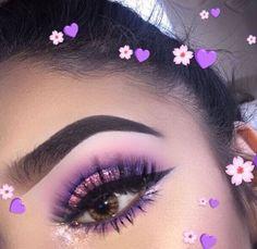 - Makeup Inspiration, Looks, and Ideas - Make up Makeup Eye Looks, Cute Makeup, Pretty Makeup, Skin Makeup, Eyeshadow Makeup, Purple Makeup Looks, Edgy Makeup, Purple Eye Makeup, Awesome Makeup