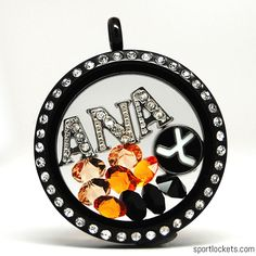 Anaheim hockey themed locket necklace from SportLockets.com.  Customize this jewelry with your own letters!