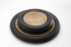TransNeomatic by Artecnica. Container bowl formed of re-used tires and hand-woven wicker framing