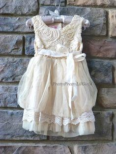 Beige Girls Lace Dress- Flower Girl Dresse- Flower Girl- Ivory Lace Girls Dress- Toddler Girls Dress