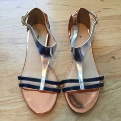 J. Crew Crewcuts Colorblock t­strap sandals J. Crew Crewcuts Colorblock t­strap sandals. Metallic bronze, silver, and navy. Girls' size k4, fits like a women's 6. Worn once. Like new condition. MSRP $128 J. Crew Shoes Sandals