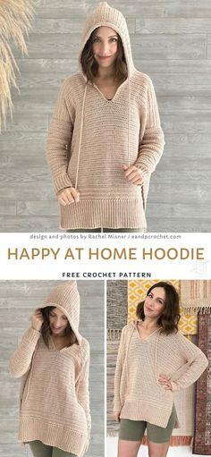 Cardigan Au Crochet, Crochet Hoodie, Crochet Jumper Pattern, Crochet Sweaters, Cardigan Sweaters, Pull Crochet, Knit Crochet, Crochet Tops, Crotchet