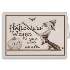 Vintage Halloween Card    How cute is this! A beautiful little boy sitting on a broomstick pretending to fly. Next to him are a carve...