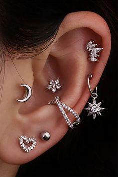 Bijoux Piercing Septum, Ear Piercing Names, Piercing Face, Pretty Ear Piercings, Ear Piercings Chart, Different Ear Piercings, Piercing Chart, Ear Peircings, Types Of Ear Piercings