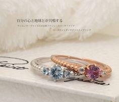 Non-heating fancy color sapphire X Rose cut diamond decorative ring  非加熱ファンシーカラーサファイア×ローズカットダイヤデコラティブリング