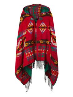 Trendy Ethnic Printed Loose Tassel Horn Button Hooded Women Cape - NewChic Mobile.