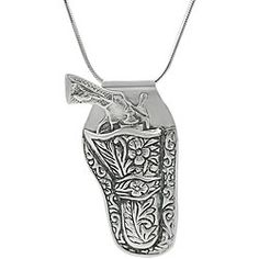 pretty  pendant with a gun in a detailed holster. This bold jewelry is crafted of sterling silver with an antiqued finish. My husband gave me this and I love it!!