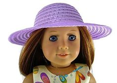 Lavender Straw Hat Fits American Girl Doll