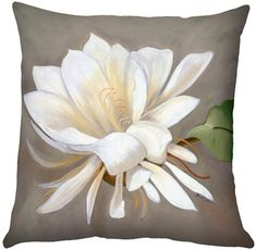 A single cactus flower in full bloom is set against a soft taupe and gray background on the this square throw pillow. A Sandra Forzani original.