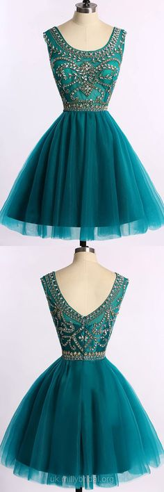 Short Prom Dresses Dark Green, 2018 Prom Dresses For Teens Cheap,  Sparkly Scoop Neck Cocktail Party Dresses Tulle, Modest Homecoming Dresses Beading