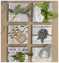 Easy & Creative Gift Wrapping Ideas - newspaper gift wrap with Pom Pom - Present Wrapping, Creative Gift Wrapping, Creative Gifts, Unique Gifts, Wrapping Papers, Cute Gift Wrapping Ideas, Gift Ideas, Creative Gift Packaging, Green Wrapping Paper