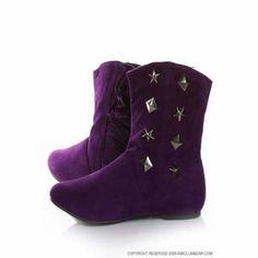 purple boots woman cute ....