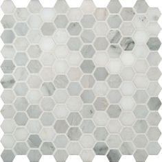 "MS International Arabescato Carrara Marble Mosaic Hexagon 12"" x 12"" : SMOT-ARA-1HEX $9.99/sq ft"