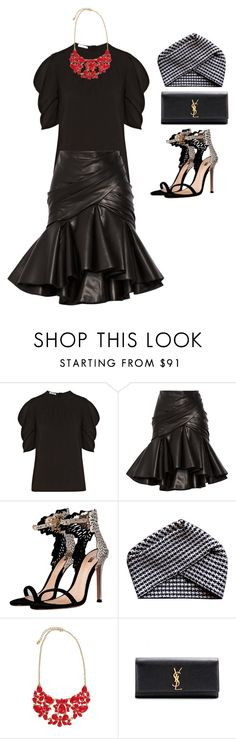 """untitled #231"" by caffeinatedfashionista ❤ liked on Polyvore featuring Miu Miu, Balmain, Electronic Sheep and Yves Saint Laurent"