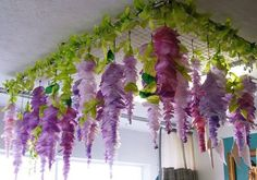 15 Fun DIY Paper Flower Tutorials: Paper Wisteria Flower Party Decorations