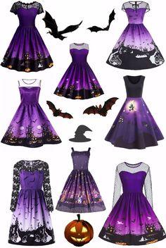 Halloween purple dress,Vintage dress,sammydress,sammydress.com