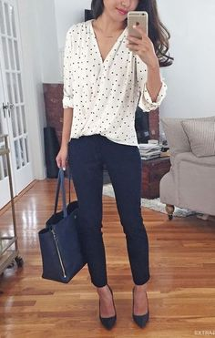 business casual office outfit idea: wrap polka dot blouse + navy ankle pants for work . I like this outfit but usually shy away from polka dots because it can be too sweet and I need to get away from the little girl look Casual Office Attire, Casual Work Outfits, Mode Outfits, Work Casual, Easy Outfits, Casual Fall, Stylish Office, Casual Chic, Summer Work Outfits Office
