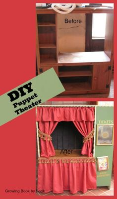 DIY Puppet Theater for puppet shows from growingbookbybook.com