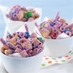 Purple Party Mix for a purple birthday party! Great color to make a theme out of, and all guests can wear purple. A sprinkle of primary colors, like the M's in this mix, can break it up a little.