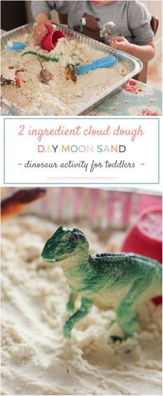 Quiet time activity for toddler, cloud dough moon sand, fun dinosaur activity for toddlers. Find more over at http://www.welliesandlemonade.com/