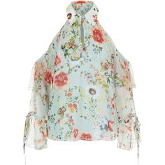 Alice + Olivia Blayne Floral Blouse ($480) ❤ liked on Polyvore featuring tops, blouses, cold shoulder blouse, green cold shoulder top, floral blouse, ruffle sleeve blouse and green blouse