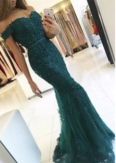 Lace Appliqués and Beaded Embellished Off-The-Shoulder Floor Length#prom #promdress #dress #eveningdress #evening #fashion #love #shopping #art #dress #women #mermaid #SEXY #SexyGirl #PromDresses