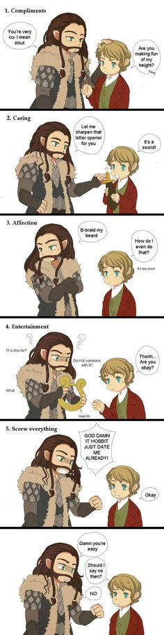 "Even though I don't ship Thorbo, this is really cute. <-previous pinner. What the hell is ""Thorbo""? Didn't you realize that the whole Internet named this ship Thilbo Bagginshield? It's not like Bilbo is with an Asgardian or something."
