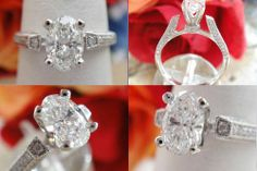0.92CT Oval Diamond Pave Engagement Ring Certified