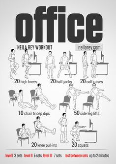 Office Workout // visual fitness routines by Neila Ray