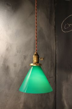 Vintage Gaming Pendant Light with Green Glass Cone Shade - Industrial Hanging Lamp on Etsy, £72.43