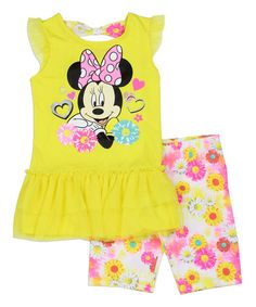 Loving this Yellow Minnie Mouse Angel-Sleeve Tunic & Shorts - Girls on #zulily! #zulilyfinds