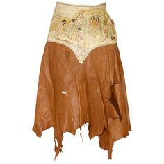 Preowned Hand Painted Leather Skirt ($325) ❤ liked on Polyvore featuring skirts, bottoms, multiple, leather wrap skirt, button skirt, leather skirt, native american skirt and brown skirt