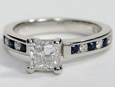 Engagement Ring with Channel Set Sapphires and Diamonds in 18k ...