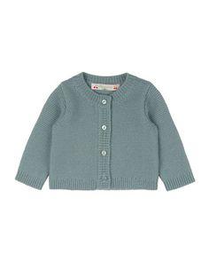 Crochet Button-Front Cardigan, Aqua Blue, Size Newborn-3 Months by Bonpoint