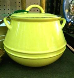 Vintage Discoware Bean Pot From Belgium With Lid  31/2 Quart   Mint Condition   $125  Dealer #282  Lula B's  2639 Main St. | Dallas, TX 75226  Open Daily Mon. -- Sat. 11 to 7 Sun. 12 to