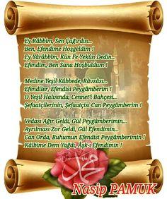 Ey Râbbim, Sen Çağırdın  Ben, Efendime Hoşgeldim  Ey Yârâbbîm, Kün Fe Yekûn Dedin  Efendim, Ben Sana Hoşbuldum   Medine Yeşil Kûbbede Râvzâsı  Efendiler, Efendisi Peygâmberim  O Yeşil Halısında, Cennet'i Bahçesi  Şefaatçilerinin, Şefaatçisi Can Peygâmberim   Vedası Ağır Geldi, Gül Peygâmberimin  Ayrılması Zor Geldi, Gül Efendimin  Can Orda, Ruhumun Efendisi Peygâmberimin  Kâlbime Dem Yağdı, Âşk-ı Efendimin                   Nasip PAMUK