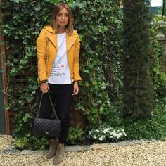 Louise redknapp a style album Mum style. Coloured yellow leather biker with black jeans