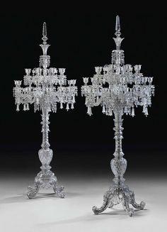 A large pair of French cut-crystal twenty-four-light torcheres by Cristalleries de Baccarat, Paris, Century Baccarat Crystal, Crystal Glassware, Chandeliers, Chandelier Lighting, Antique Chandelier, Cut Glass, Glass Art, Art Decor, Decoration