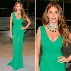 Knockout look from Sofia Vergara on the red carpet. The bombshell has a way with curve-conscious silhouettes and megawatt jewels, as evidenced by her form-flaunting emerald-green Herve Leroux gown and stunning Lorraine Schwartz statement necklace and earrings.  CFDA AWARDS 2013