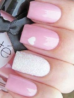 Pink & White Glitter Heart Nail Art