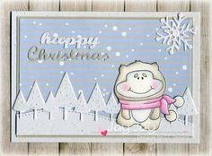 C.C. Designs Meoples Yeti Fun,  C.C. Designs Snowy Day Paper Pad, C.C. Cutters Make A Card #11 Winter Die, C.C. Cutters Make A Card #10 Christmas Die, C.C. Cutters Snowflake Die, C.C. Designs Snowy Day Enamel Dots