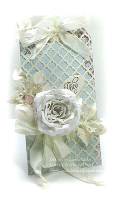 Pastel Love Tag...with white flowers & satin ribbon...linda's works of heart.