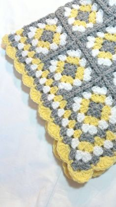 Granny Square Baby Blanket Grey Gray and Yellow by littledarlynns Crochet Cowl Free Pattern, Crochet Square Patterns, Baby Afghan Crochet, Crochet Baby Hats, Crochet Blanket Patterns, Crochet Granny, Handmade Baby Blankets, Granny Squares, Gray Yellow