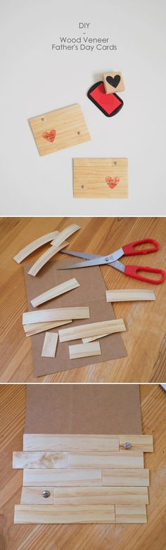 Cute Handmade Father's Day Card Tutorial | DIY Wood Veneer Father's Day Card by DIY Ready at http://diyready.com/21-diy-fathers-day-cards/