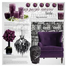 """""""deep purple interior"""" by thysania ❤ liked on Polyvore featuring interior, interiors, interior design, home, home decor, interior decorating, Brewster Home Fashions, Hervé Gambs, True Grace and Kelly Wearstler"""