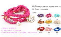 Мода спирально раны тип многослойные кулон мода кожаный шнур трикотажные браслет, принадлежащий категории Браслеты-талисманы и относящийся к Ювелирные изделия на сайте AliExpress.com   Alibaba Group