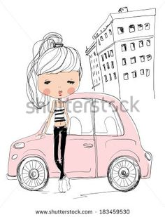 girl with car - stock vector