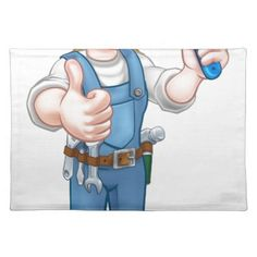 Cartoon Woman Painter Decorator Character Cloth Placemat - construction business diy customize personalize