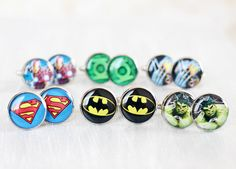 Wedding mens cufflinks - set of 6 Groomsmen gifts - Comic Superhero - Superman, Batman, Green Lantern, Wolverine, The Hulk, Iron Man